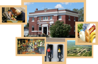 A collage showing the old bank inside and out, an aerial view of the village and indications that we sell fuel and groceries.