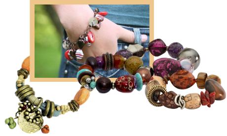 A collage of chunky bracelets