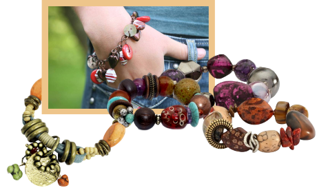 A collage of chunky bracelets