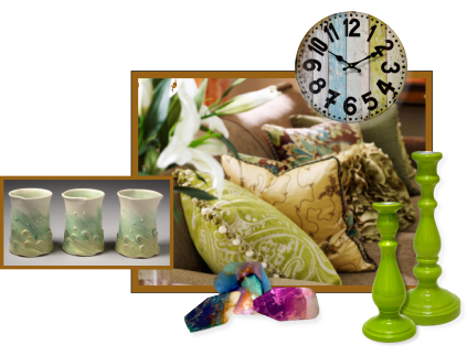 A collection of accessories for the home including pillows, candlesticks and handmade mugs.
