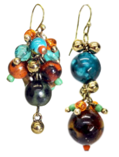 A pair of asymmetrical earrings.