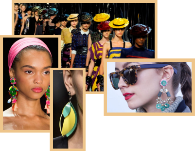 A collage of models on the New York fashion runways.
