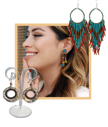 An assortment of large women's fashion earrings.