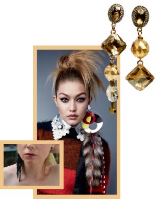 Asymmetrical earring vignette.