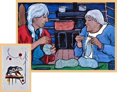 A Nokomis painting of old women knitting.
