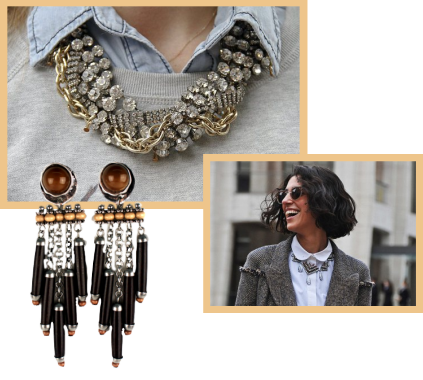 A collage of trendy chunky jewelry