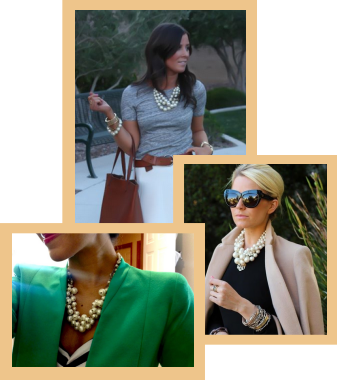 A collage of women who are wearing pearls in business suits.