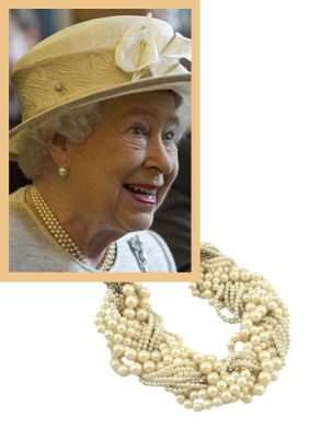 Queen Elizabeth wearing her favourite pearls.