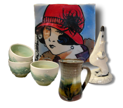 A collage of handmade Canadian pottery.