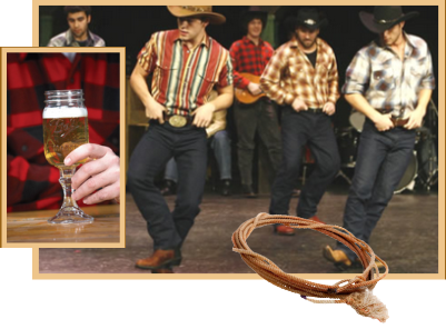 Cowboys line dancing, drinking beer