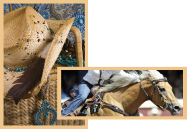 A photo of a vignette of western accessories and a photo of a barrel racer.