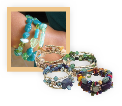 A selection of memory wire bracelets