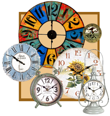 Home accessories and decor selection of wall clocks.