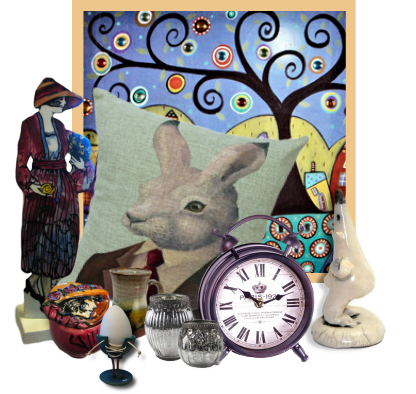 A collection of accessories for the home - pillows, pottery, clocks and wall art.