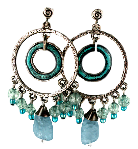 Large silvered hoop earrings with turquoise accents.