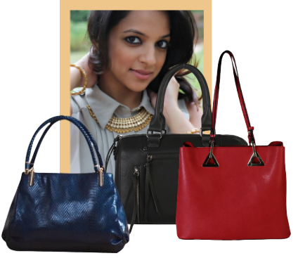 Collage of red and blue handbags