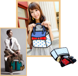 Collage of two dimensional purses