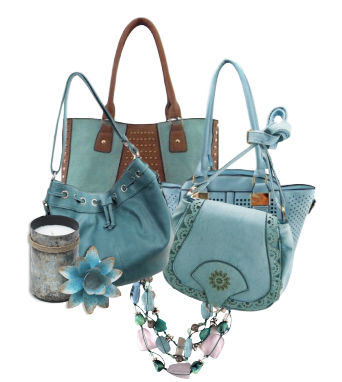A collage of light blue handbags.