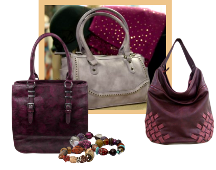 An assortment of handbags in shades of purple and mauve.