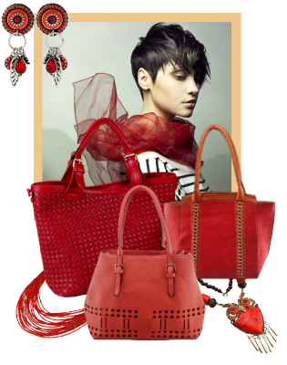 Model with red handbags and jewelry