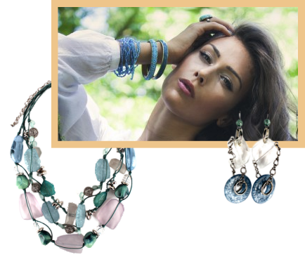 The trend in womens costume jewelry is towards the big, bold and beautiful.  A pastel beach glass necklace could be paired with the bangles on the model.