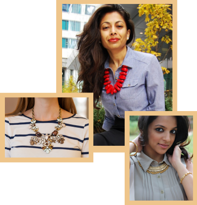 Three types of chunky necklaces on models.