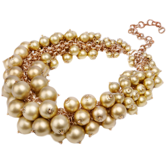 Faux gold coloured pearl necklace