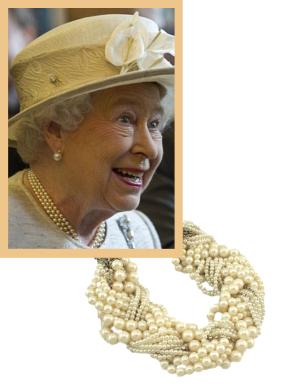 Queen Elizabeth wearing her favourite pearls.