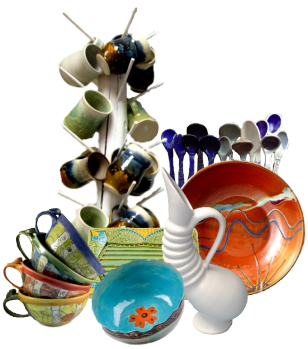 A collection of colorful handmade ceramic pottery