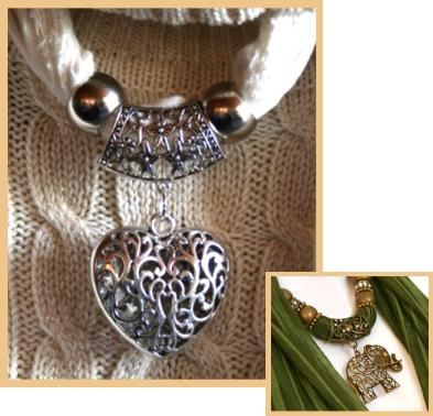 Scarf jewelry - heart an elephant pendants.